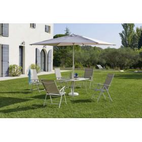 CARREFOUR Table et chaises de jardin avec parasol