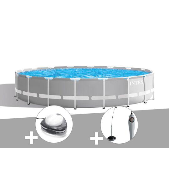 Kit Piscine Tubulaire Intex Prism Frame Ronde 6,10 X 1,32 M + Spot + Douche Solaire INTEX