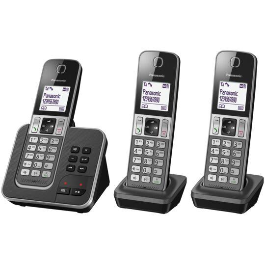 Téléphone fixe sans fil avec répondeur - KX-TGD323FRG - Trio - Noir