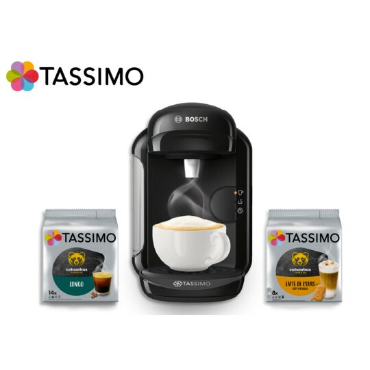 Machine multi-boissons Tassimo HAPPY + 2 packs de T-Discs offerts - TAS1002C4 - Noir