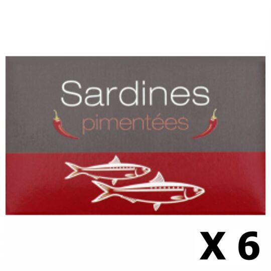 Lot 6x Sardines Pimentées - Maroc - Conserve 125g AGIDRA