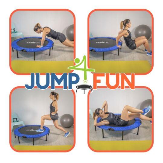 Mini Trampoline Fitness Double Barre Bleu Ø122 Cm JUMP4FUN