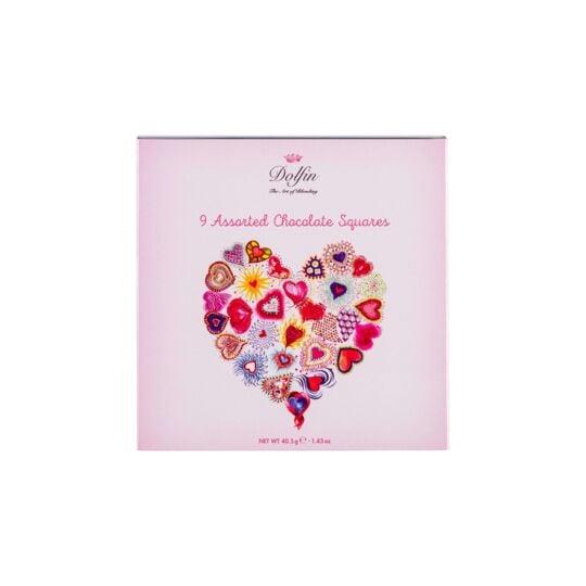 "Boite De 9 Carrés Gourmands De Chocolat ""love"" - 6 Saveurs CHOCOLAT DOLFIN"