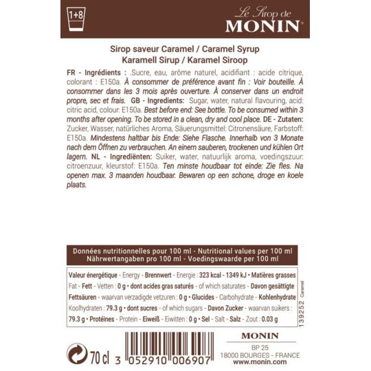 Sirop De Caramel - Arôme Naturel - 70cl MONIN