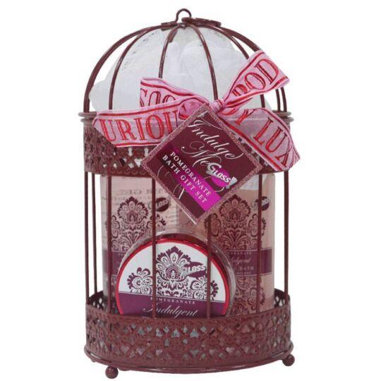 Coffret Cadeau Bain Format Cage Couleur Rose Dorée À La Grenade GLOSS