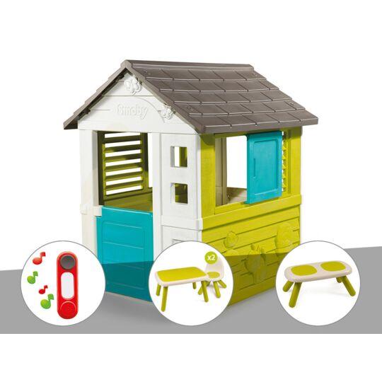 Cabane Enfant Pretty - Smoby + Sonnette + Table Et 2 Chaises + Banc SMOBY