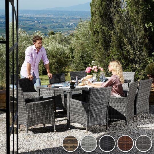 Salon De Jardin Monaco 8 Places Avec 2 Sets De Housses + Housse De Protection Gris TECTAKE
