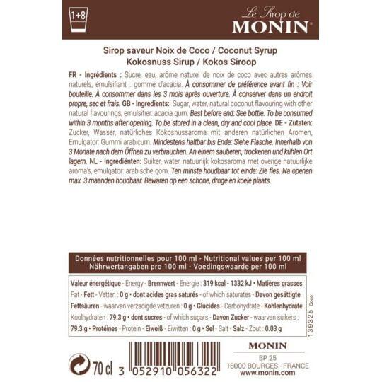 Sirop Saveur Coco - Arôme Naturel - 70cl MONIN
