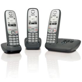GIGASET Téléphone fixe sans fil avec répondeur - AS435 A - Trio Noir