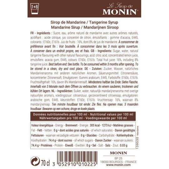 Sirop De Mandarine - Arôme Naturel - 70cl MONIN
