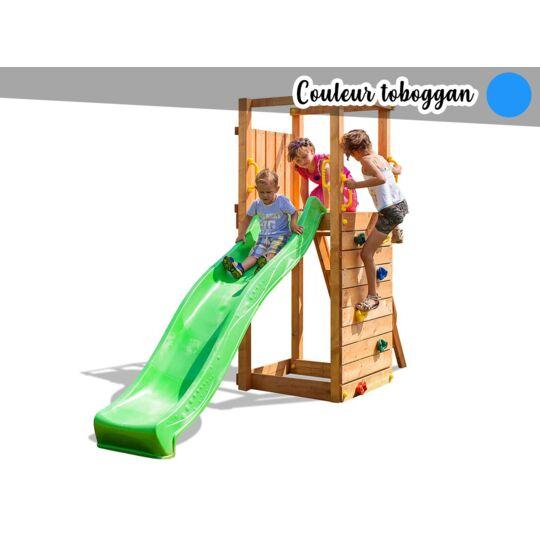 Aire De Jeux Tip Top + Mur D'escalade + Toboggan Bleu FUNGOO