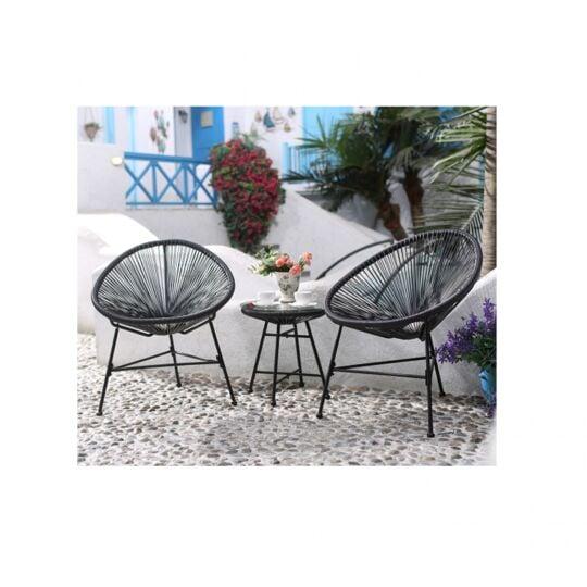 Le Palmero : Salon De Jardin Gris 2 Fauteuils Oeuf + Table Basse NO NAME