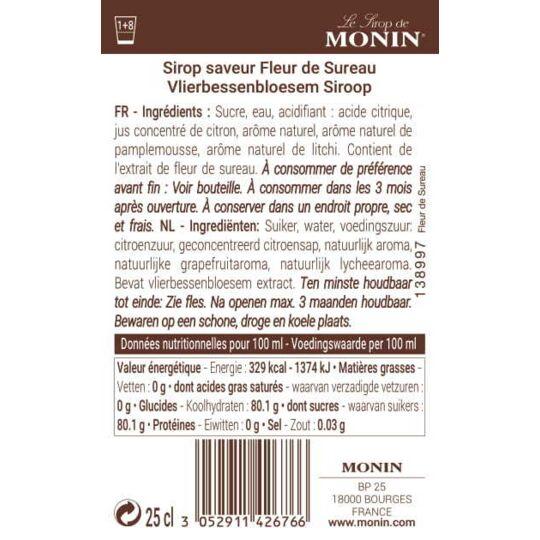 Sirop Saveur Fleur De Sureau - Arôme Naturel - 25cl MONIN