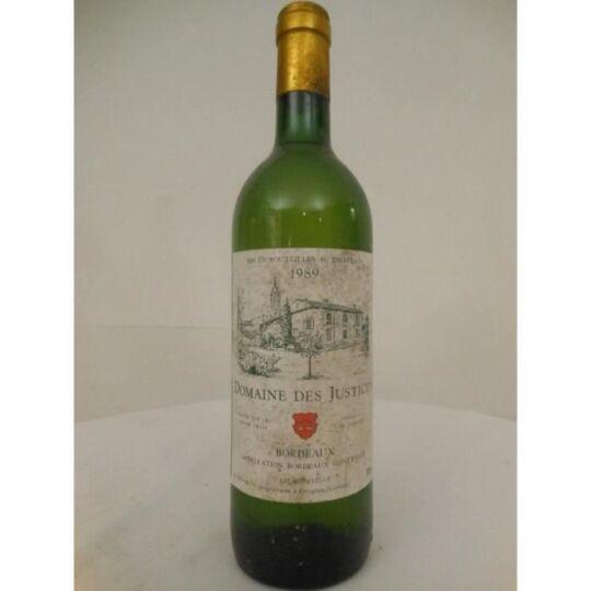 Bordeaux Domaine Des Justices Blanc 1989 - Bordeaux: Une Bouteille De Vin.