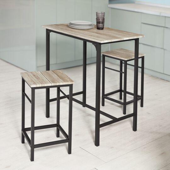 Sobuy® Ogt10-n Set De 1 Table + 2 Tabourets Ensemble Table De Bar Bistrot + 2 Taboure SOBUY