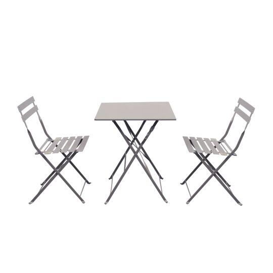 BISTROT Ensemble table carrée et 2 chaises pliantes