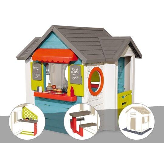 Cabane Enfant Smoby Chef House + Cuisine D'été + Table Pique Nique + 2 Sets De 6 SMOBY