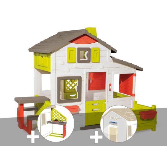 Cabane Enfant Smoby Neo Friends House + Cuisine D'été + Lampe Solaire SMOBY
