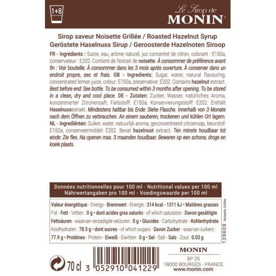 Sirop Saveur Noisette Grillée - Arôme Naturel - 70cl MONIN