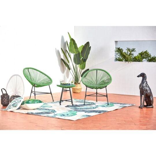 Acapulco : Ensemble 2 Fauteuils Oeuf + Table Basse Vert CONCEPT USINE