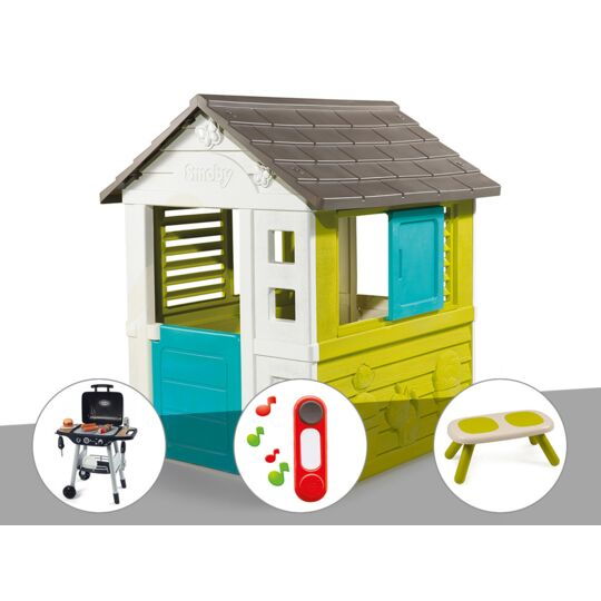 Cabane Enfant Pretty - Smoby + Barbecue / Plancha + Sonnette + Banc SMOBY