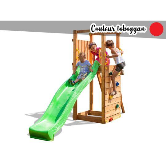 Aire De Jeux Tip Top + Mur D'escalade + Toboggan Rouge FUNGOO