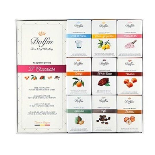 Assortiment de 27 tablettes 10g - Chocolat noir et lait - 9 saveurs CHOCOLAT DOLFIN