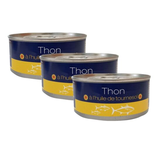 Lot 3x Thon Entier À L'huile De Tournesol - Boîte 160g
