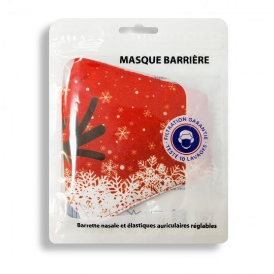 Masque Noel Adulte En Tissus Lavable 10 Fois - Motif Noel - Couleur Flocon Rouge Atsanté