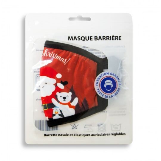 Masque Noel Enfant En Tissus Lavable 10 Fois - Motif Noel - Couleur Rouge Atsanté