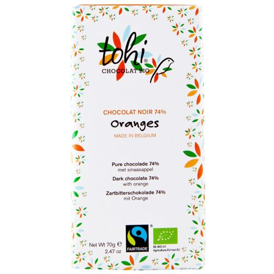 Chocolat Bio Noir 74% Cacao - Orange CHOCOLAT TOHI