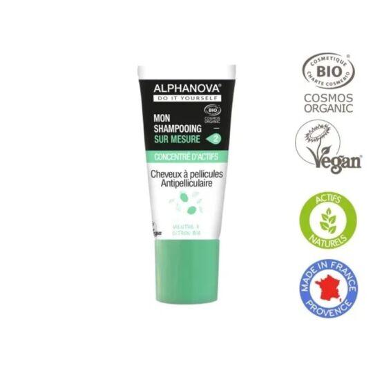 Shampoing Anti Pelliculaire. Concentré D'actifs Purs Bio ALPHANOVA