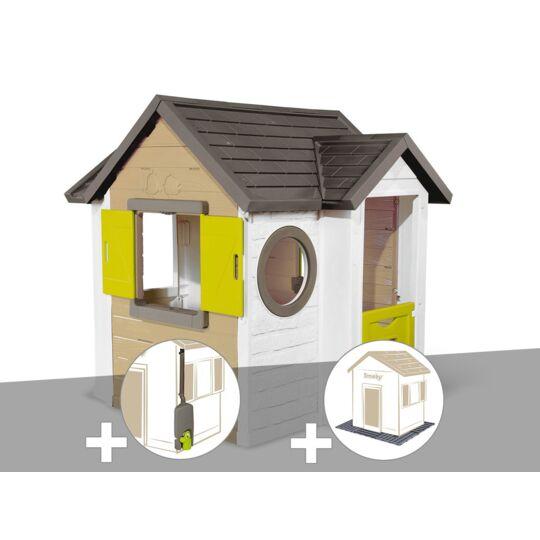 Cabane Enfant Smoby My New House + Récupérateur D'eau + 2 Sets De 6 Dalles SMOBY