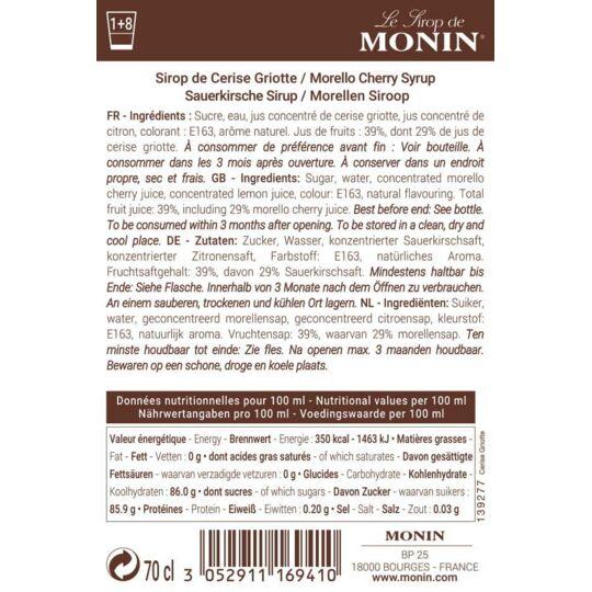 Sirop De Cerise Griotte - Arôme Naturel - 70cl MONIN