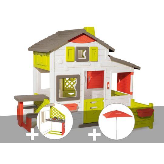 Cabane Enfant Smoby Neo Friends House + Cuisine D'été + Parasol SMOBY