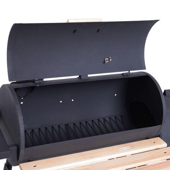 Barbecue À Charbon Fumoir Acier Laminé À Froid Noir OUTSUNNY