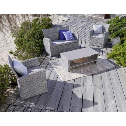 CARREFOUR Table basse et fauteuils / canapé de jardin Ouvéa