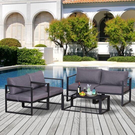 Salon De Jardin Design Style Yachting 4 Places + Table Basse Gris OUTSUNNY