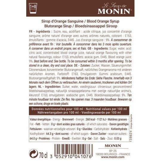 Sirop De Orange Sanguine - Arôme Naturel - 70cl MONIN