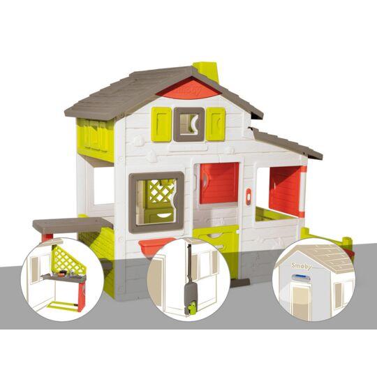 Cabane Enfant Smoby Neo Friends House + Cuisine D'été + Récupérateur D'eau + Lampe SMOBY