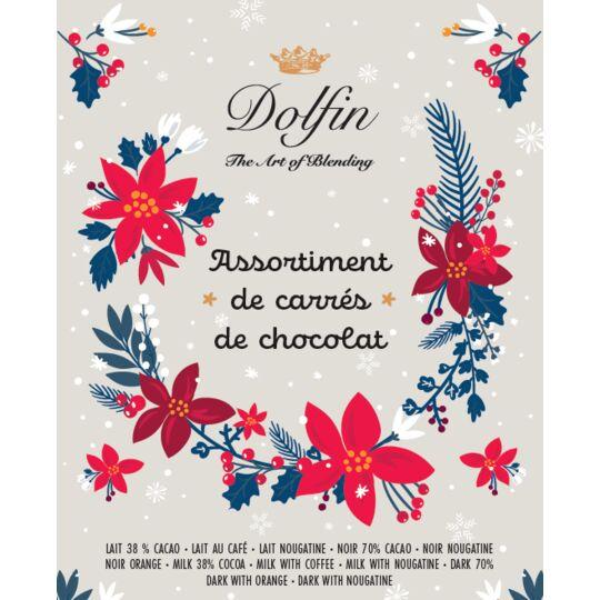 Boite vrac carrés de chocolat - Rose de Noël Hiver Mix- 1800g CHOCOLAT DOLFIN