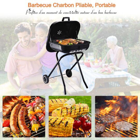 Barbecue À Charbon Pliable Avec Couvercle Et Roulettes Acier Émaillé Noir OUTSUNNY