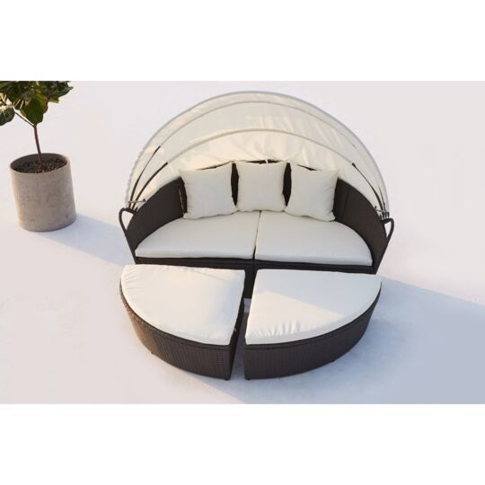 Cocoon : Salon De Jardin Modulable 6/8 Personnes En Résine Tressée Noir/blanc CONCEPT USINE