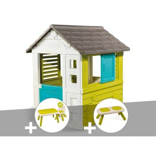 Cabane Enfant Pretty - Smoby + Table Et 2 Chaises + Banc SMOBY
