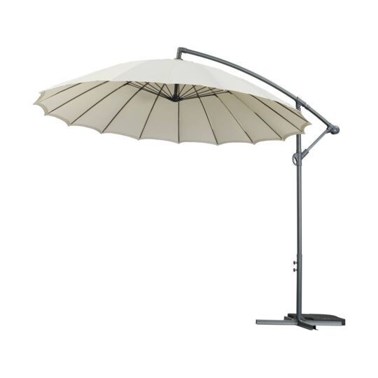 "Parasol Jardin Déporté Alu ""lili 3"" - Style Japonais - Ø3m - Ecru HABITAT ET JARDIN"