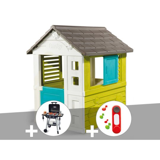 Cabane Enfant Pretty - Smoby + Barbecue / Plancha + Sonnette SMOBY